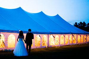 Esküvői sátor, felszerelés, fénytechnika